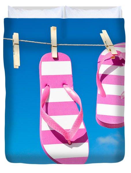 Holiday Washing Line Duvet Cover by Amanda Elwell