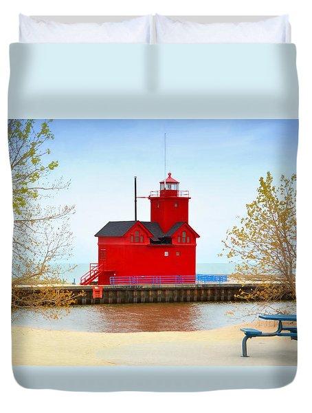 Holland Harbor Light Duvet Cover