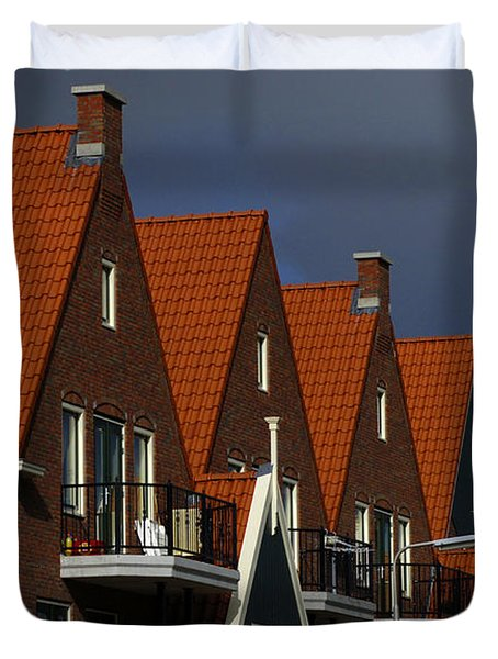 Holland Row Of Roof Tops Duvet Cover by Bob Christopher