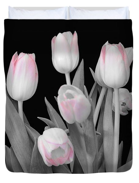 Duvet Cover featuring the photograph Holland Tulips In Black And White With Pink by Jeannie Rhode