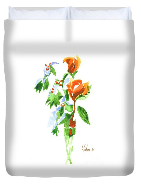 Duvet Cover featuring the painting Holly With Red Roses In A Vase by Kip DeVore