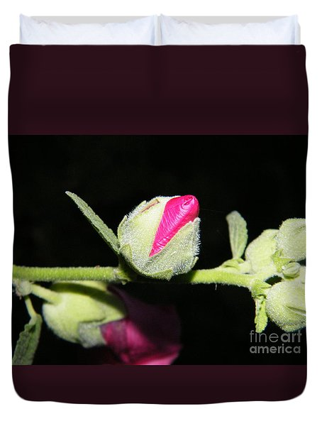 Duvet Cover featuring the photograph Hollyhock Buds by Ann E Robson