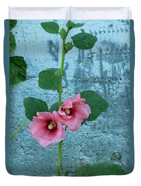 Duvet Cover featuring the photograph Hollyhock by E Faithe Lester