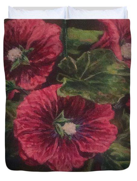 Red Hollyhocks Duvet Cover
