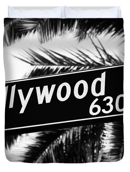 Hollywood Boulevard Street Sign In Black And White Duvet Cover