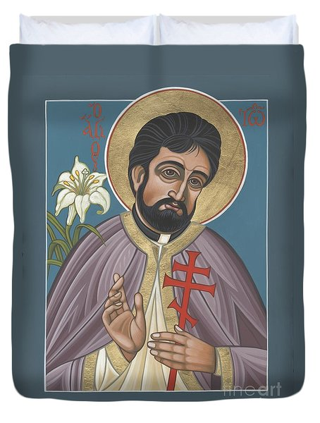 Duvet Cover featuring the painting Holy New Martyr Father John Karastamatis Of Santa Cruz 216 by William Hart McNichols