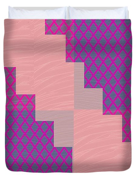 Holy Purple Diamond Pattern And Silken Light Crystal Across Duvet Cover by Navin Joshi
