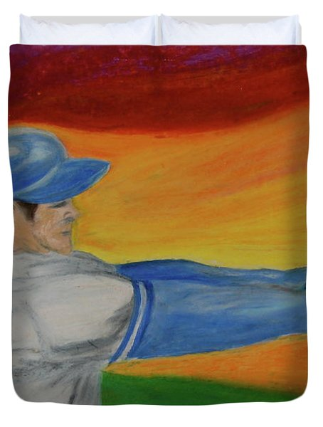 Duvet Cover featuring the drawing Home Run Swing Baseball Batter by First Star Art