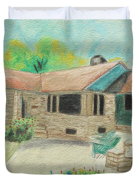 Duvet Cover featuring the painting Home Sweet Home by Jeanne Fischer