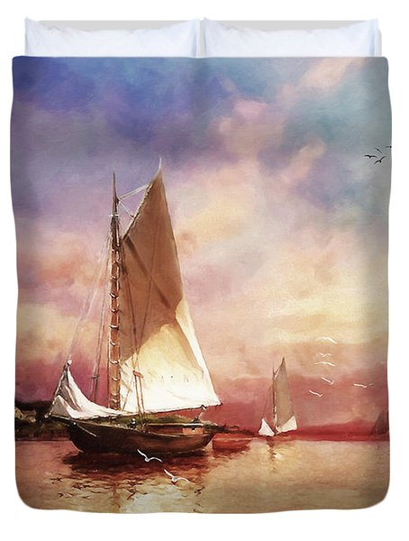 Home To The Harbor Duvet Cover by Lianne Schneider