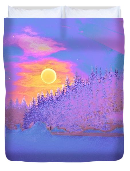 Homebound Train Angel And A Suitcase Duvet Cover by David Mckinney