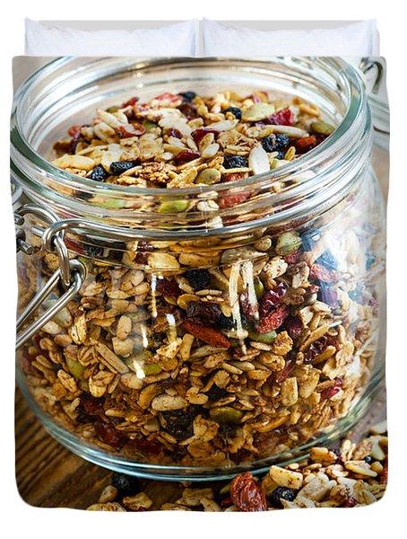 Homemade Granola In Glass Jar Duvet Cover