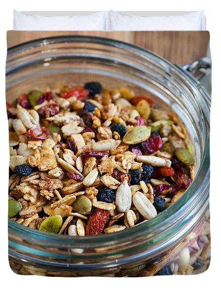 Homemade Granola In Open Jar Duvet Cover