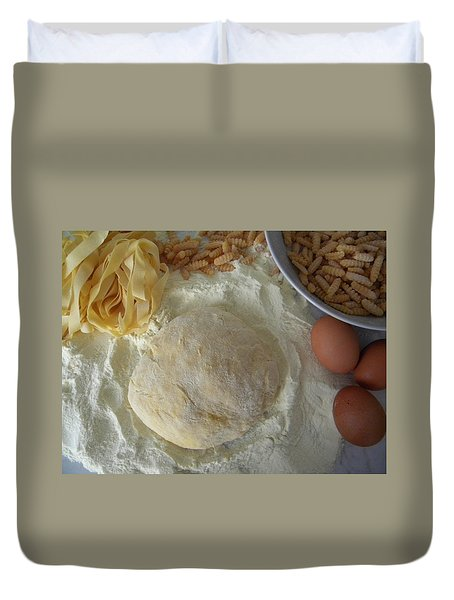 Homemade Pasta Duvet Cover by Manuela Constantin