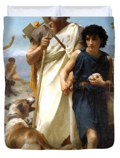 Homer And His Guide Duvet Cover by William Bouguereau