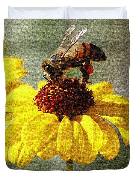 Honey Bee And Brittle Bush Flower Duvet Cover