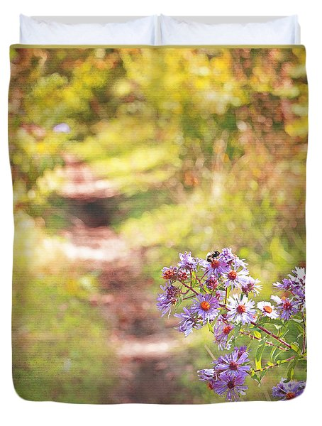 Duvet Cover featuring the photograph Honey Bee On Purple Aster by Brooke T Ryan
