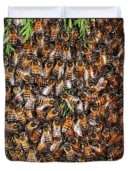 Duvet Cover featuring the photograph Honey Bee Swarm by Tom Janca