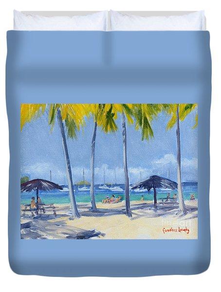 Honeymoon Beach Morning Duvet Cover