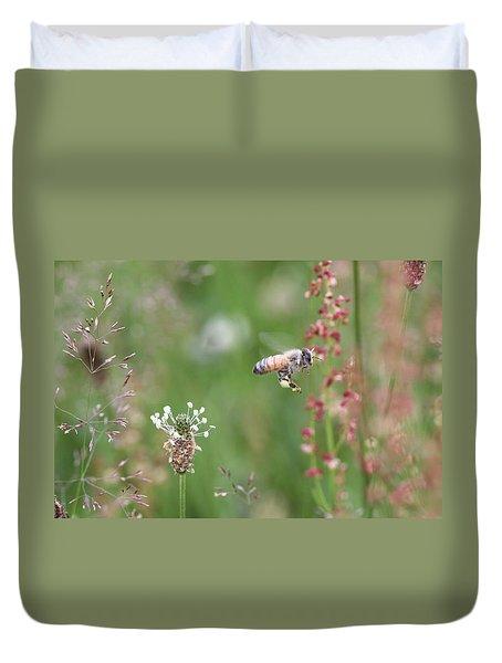 Honeybee Flying In A Meadow Duvet Cover