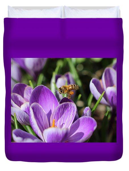 Honeybee Flying Over Crocus Duvet Cover