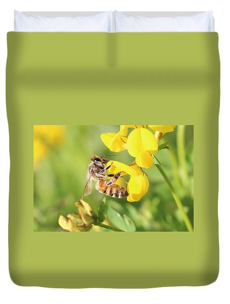 honeybee on Birdsfool Trefoil Duvet Cover