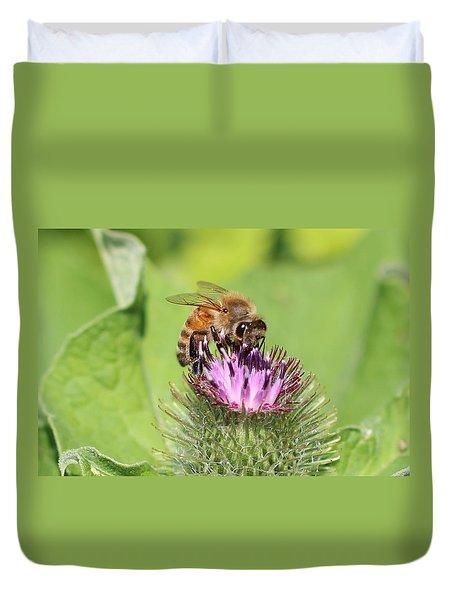 Honeybee On Burdock Duvet Cover