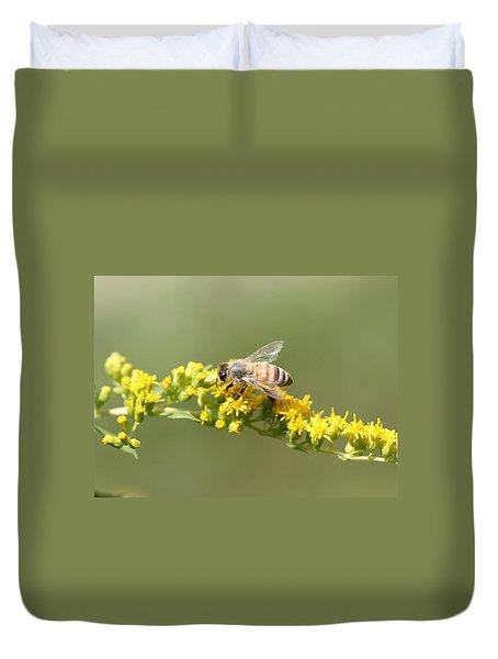 Honeybee On Goldenrod Twig Duvet Cover