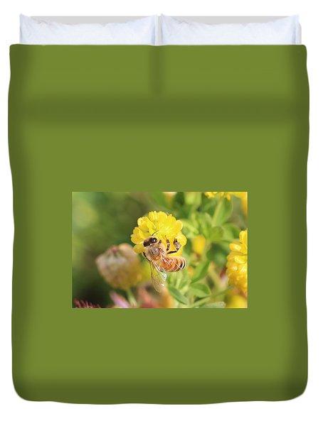 Honeybee On Hop Clover Duvet Cover by Lucinda VanVleck