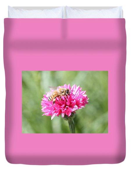 Honeybee On Pink Bachelor's Button Duvet Cover