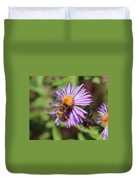Honeybee On Purple Wild Aster Duvet Cover