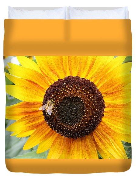Honeybee On Small Sunflower Duvet Cover