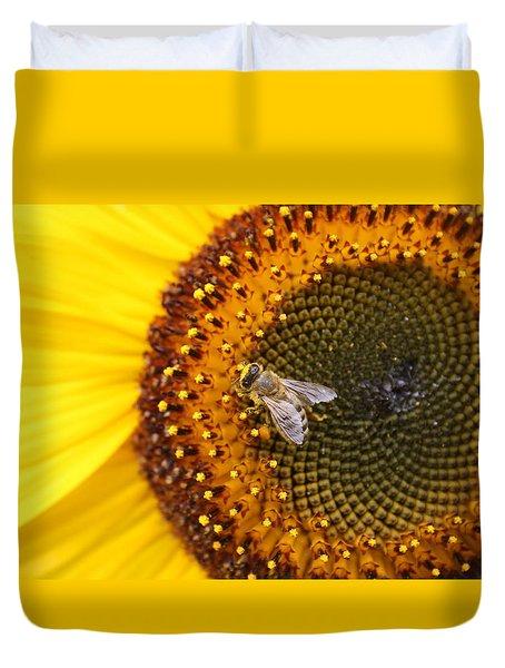 Honeybee On Sunflower Duvet Cover