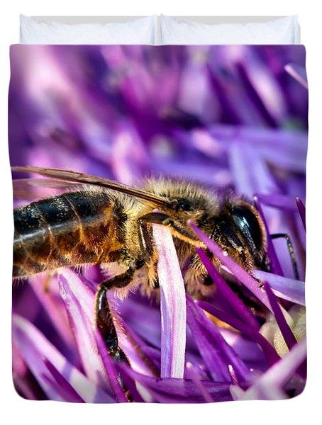 Honeybee Romping In The Garlic Duvet Cover