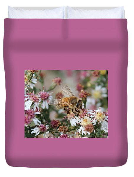 Honeybee Sipping Nectar On Wild Aster Duvet Cover