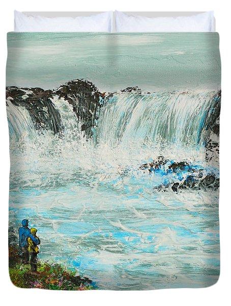 Honeymoon At Godafoss Duvet Cover by Alys Caviness-Gober