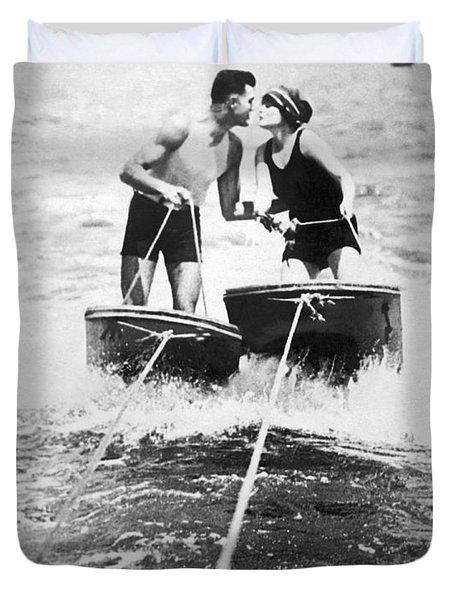 Honeymooners On Sf Bay Duvet Cover