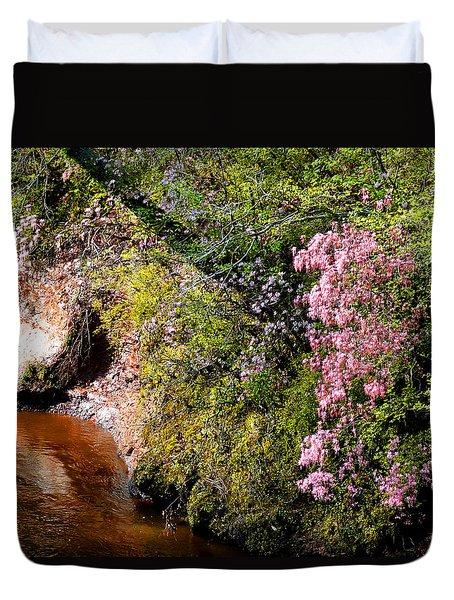 Honeysuckle On Buckatunna Creek Duvet Cover by Lanita Williams