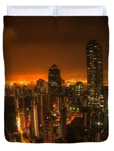 Hong Kong Gotham Duvet Cover by Peter Thoeny