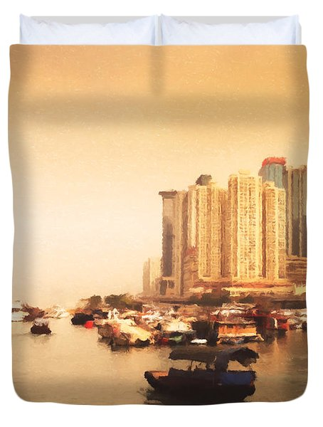 Hong Kong Harbour 02 Duvet Cover by Pixel Chimp