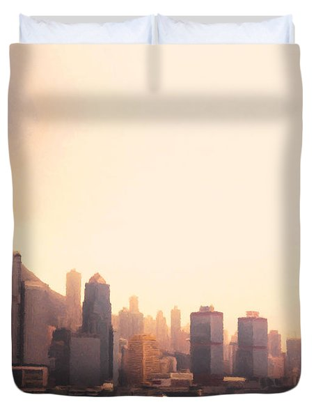 Hong Kong Harbour Sunset Duvet Cover by Pixel  Chimp