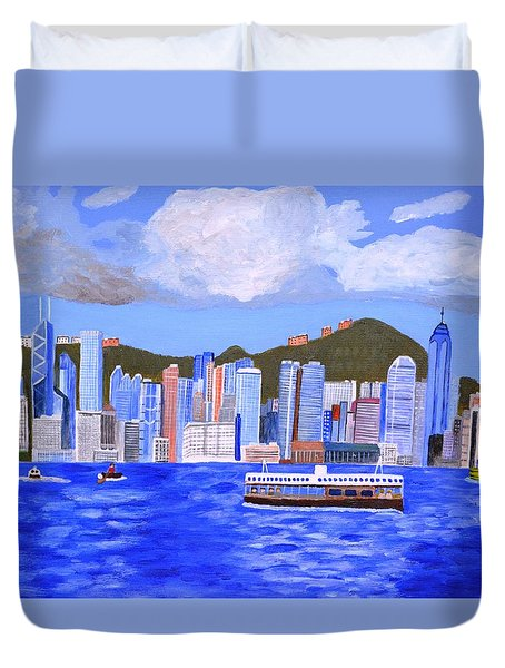 Duvet Cover featuring the painting Hong Kong by Magdalena Frohnsdorff