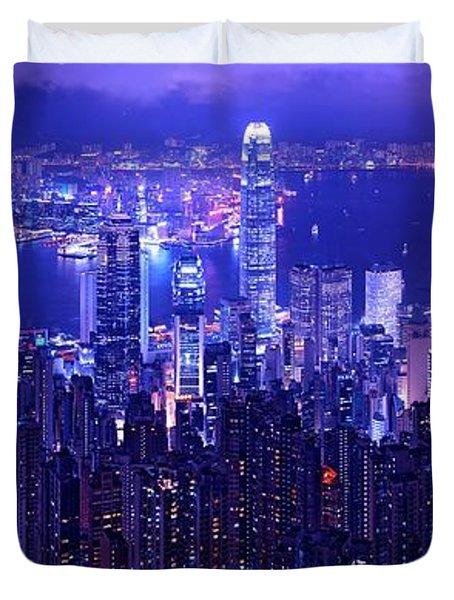 Hong Kong In Purple Duvet Cover