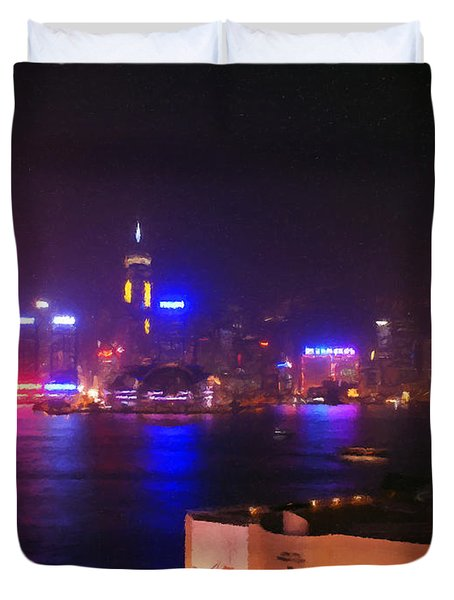 Hong Kong Skyline Duvet Cover by Pixel  Chimp