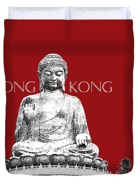 Hong Kong Skyline Tian Tan Buddha - Dark Red Duvet Cover
