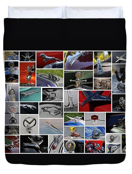 Hood Ornament Collage Duvet Cover by Mike Martin