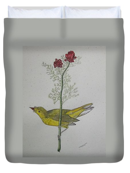 Hooded Warbler Duvet Cover by Kathy Marrs Chandler