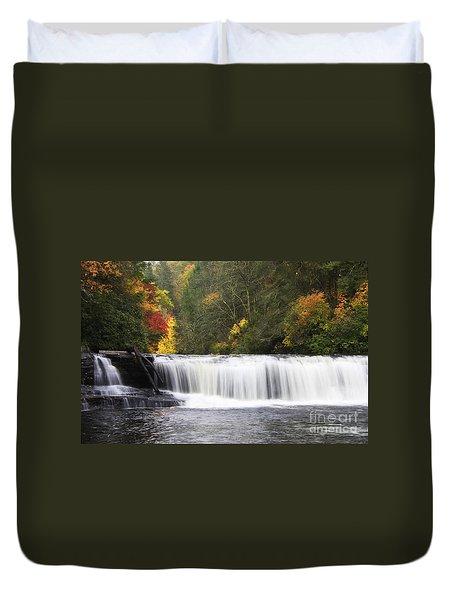 Hooker Falls In North Carolina Duvet Cover