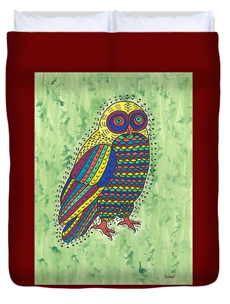 Duvet Cover featuring the painting Hoot Owl by Susie Weber
