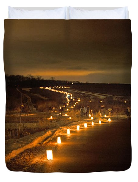 Horicon Marsh Candlelight Snow Shoe/hike Duvet Cover